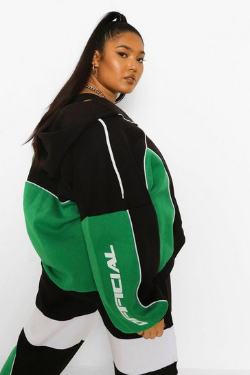Green Plus  Colour Block Oversized Hoodie