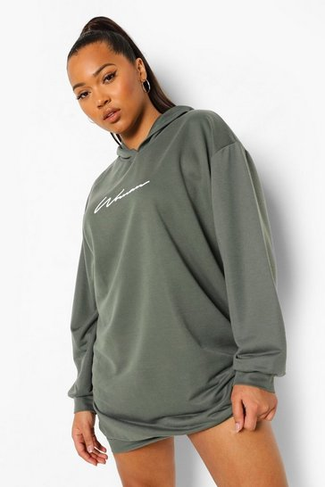 Khaki Plus Woman Script Oversized Hoody