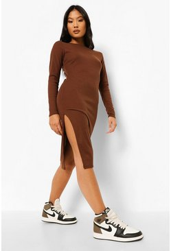 Chocolate brown Petite Side Split Rib Midi Dress