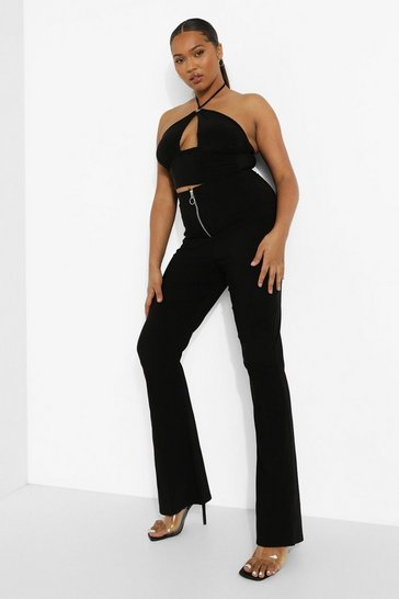 Black Plus Zip Super Stretch Flared Trousers