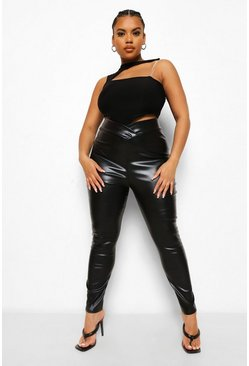 Black Plus V Band Leather Look Leggings