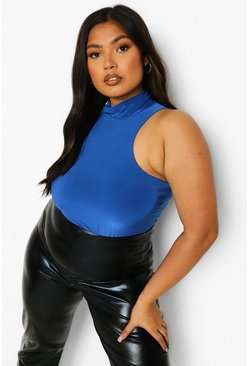 Cobalt blue Plus Double Slinky High Neck Racer Bodysuit