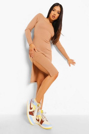 Camel beige Petite Square Neck Side Split Midi Dress