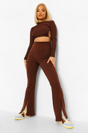 Chocolate brown Petite Split Hem Flare Trouser