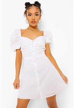 White Petite Broderie Puff Sleeve Dress