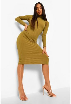 Olive green Petite High Neck Open Back Rib Midi Dress