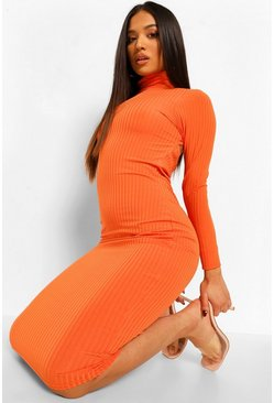 Tangerine orange Petite High Neck Open Back Rib Midi Dress