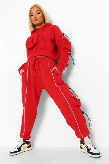 Red Petite Cargo Bungee Cord Jogger