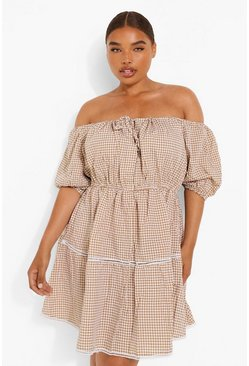 Plus Bardot Gingham Off-Shoulder Skater-Kleid, Kamelhaarfarben beige
