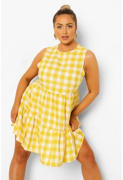 Yellow Plus Gingham Sleeveless Smock Dress