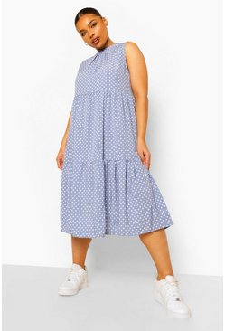 Blue Plus High Neck Polka Dot Smock Midi Dress