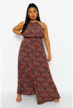 Black Plus Floral High Neck Maxi Dress