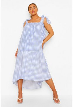 Pale blue blue Plus Check Tie Strap Midi Smock Dress