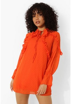 Red orange red Petite Dobby Spot Ruffle Detail Dress