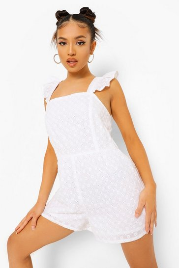 White Petite Broderie Ruffle Open Back Playsuit