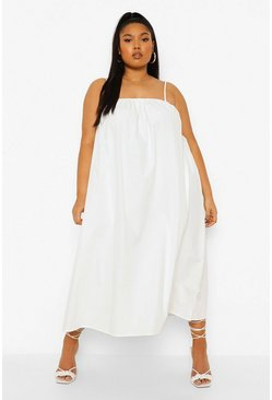 White Plus Woven Strappy Midi Dress