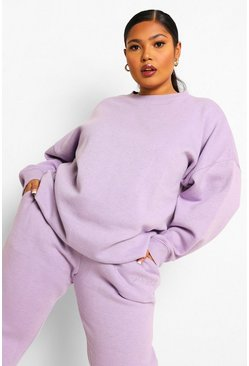Lilac purple Plus Oversized Overdye Sweater