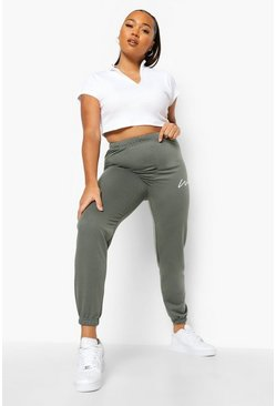 Khaki Plus Woman Script Jogger