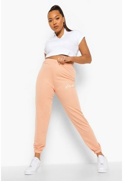 Peach orange Plus Woman Joggingbroek Met Tekst