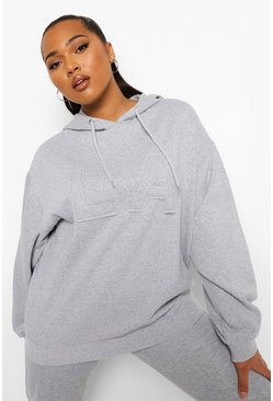 Grey marl Plus La Applique Oversized Hoody