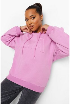 Lilac Plus La Applique Oversized Hoody