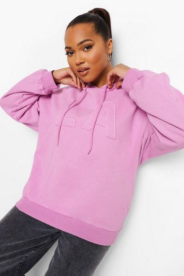 Lilac purple Plus La Applique Oversized Hoody