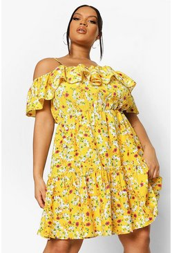 Mustard yellow Plus Floral Cold Shoulder Skater Dress