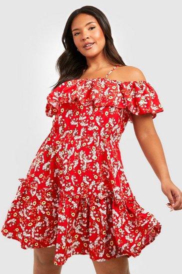 Red Plus Floral Cold Shoulder Skater Dress