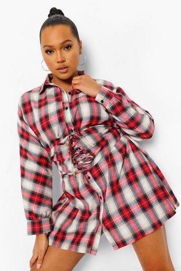 Red Plus Check Corset Waist Detail Shirt Dress