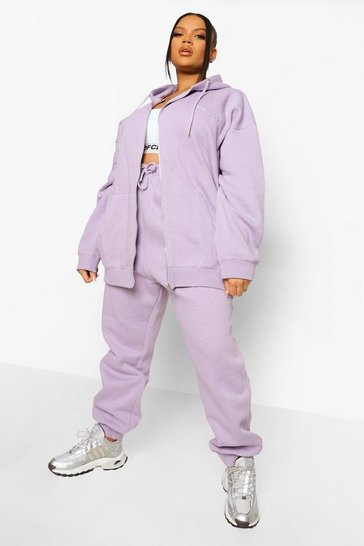 Lilac purple Plus Overdye Official Zip Hooded Tracksuit