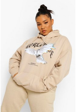Stone beige Plus Oversized Worldwide Dove Print Hoodie