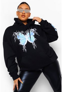 Black Plus Official Butterfly Sleeve Print Hoodie