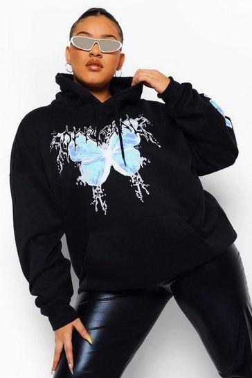 Black Plus Official Butterfly Sleeve Print Hoodie