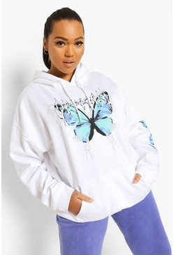 White Plus Official Butterfly Sleeve Print Hoodie