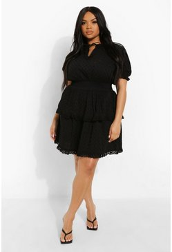 Black Plus Broderie Ruffle Tiered Sundress