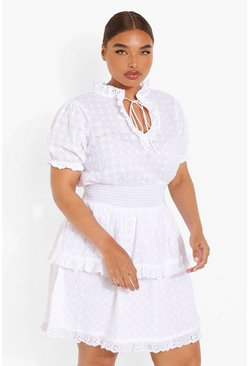 White Plus Broderie Ruffle Tiered Sundress