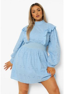 Blue Plus Broderie Anglaise Ruffle Skater Dress