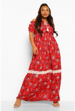 Red Plus Off Shoulder Boho Maxi Dress