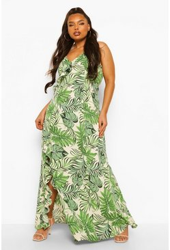 White Plus Tropical Print Strappy Split Maxi Dress