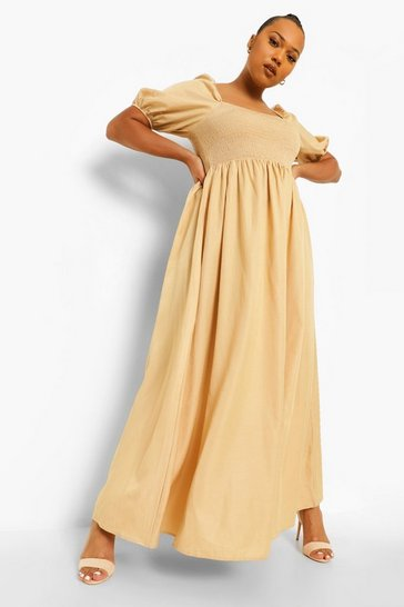 Stone beige Plus Shirred Detail Maxi Dress