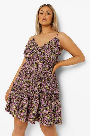 Lilac purple Plus Ditsy Floral Shirred Sun Dress