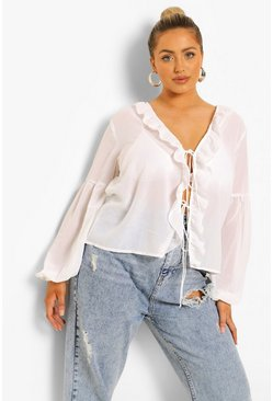 White Plus Tie Front Long Sleeve Woven Blouse
