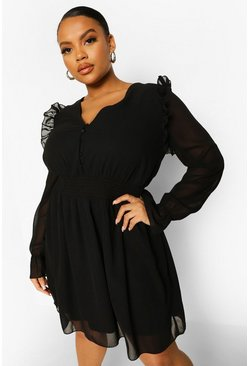 Black Plus Woven Button Front Shirred Smock Dress