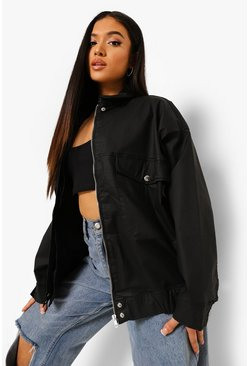 Black Petite Coated Denim Oversized Bomber Jacket
