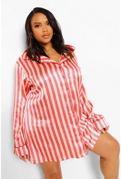 Pink Plus Candy Stripe Satin Nightshirt