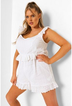 White Plus Broderie Anglaise Ruffle Playsuit