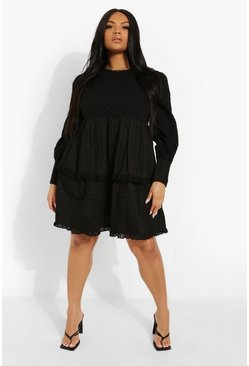 Black Plus Broderie Ruffle Tiered Skater Dress