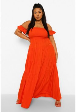 Orange Plus Off The Shoulder Tiered Maxi Dress