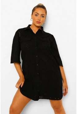 Plus Broderie Anglaise Shirt Dress, Black Чёрный