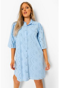 Blue Plus Broderie Anglaise Shirt Dress